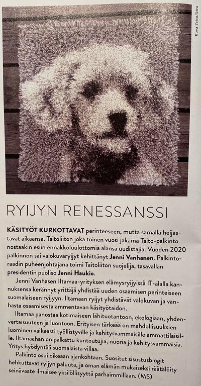 Ryijyn renesanssi Antiikki&Taide Iltamaa Kiki-ryijy lehdistö